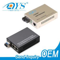Fábrica OEM Ethernet 10/100/1000m de la SFP conversor de medios de fibra óptica con SC/LC/conectores ST