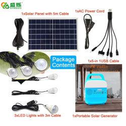 A Energia Solar Portátil do sistema Luz Solar com a FM, Bluetooth, USB, rádio USB Mobile Carregando 5W/10W dois Especificação Rádio Solar com 3 pilha recarregável LED das luzes