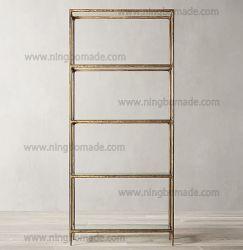 Lado rústico e mobiliário de coleta de batido de Metal Ferro sólido forjadas com cor de bronze de espessura de vidro temperado estante de livros