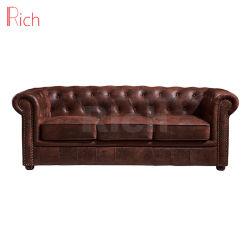 Оптовая торговля мебелью отель гостиной Vintage кожаный диван Честерфилд
