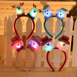 LEDサンタの枝角のスノーマンくまのヘッドバンド党装飾