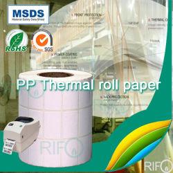 Papel sintético de PP imprimível para material de face da etiqueta auto-adesiva