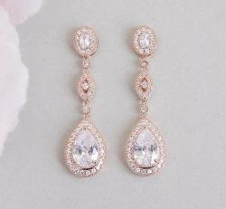 花嫁のナシCZのイヤリングの宝石類、結婚CZのイヤリングの宝石類、新婦付添人のイヤリング、ギフトの宝石類