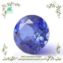 La Ronda de piedras preciosas sintéticas corte brillante corindón azul zafiro para la fabricación de joyas