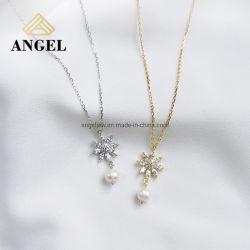 Collana d'argento di disegno del fiocco di neve di modo di 925 Ssterling con il regalo fragile dei monili di Neckalce della perla della CZ per le signore