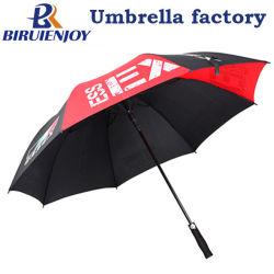 スポーツチーム用ロゴプリント付きプロモーションブラックレッドポンジーゴルフ傘