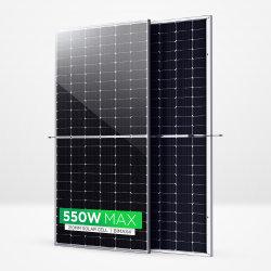 Painel Solar Bifacial Sunpal 500W 510W 520W Módulo Solares Fotovoltaicos de vidro duplo Mono 530W 540W 550W 560W 600W meia célula 166mm