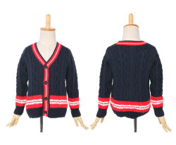 뜨개질을 한 아이 스웨터 풍만한 젊은 여자 학교 모형 스웨터