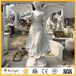 Высокий естественный белый Quanlity мраморные статуи Angel для украшения Outdor