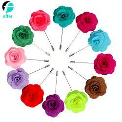 형식 남자 로즈 꽃 접어젖힌 옷깃 지팡이 브로치 Pin