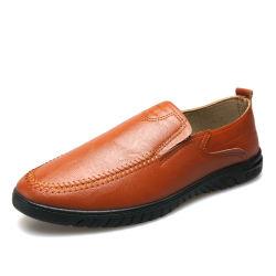 Marrón macho negro de cuero de PU personalizar el logotipo de deslizamiento de la oficina de negocios formal vestido ligero parte suave conducción Casual Zapatos para hombres