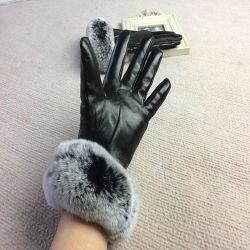 Frauen-Screen-Handschuh-Pelz-Stulpe-echtes Leder Shipskin Handschuhe