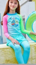 Design personalizado de Manga Longa proteção UV crianças coloridos e calções de 3286