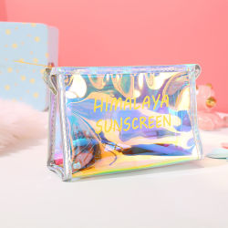 Las mujeres claro de la bolsa de cosméticos personalizados en PVC transparente de plástico de la bolsa de maquillaje Glitter de viajes