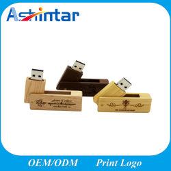 Logotipo personalizado giratorio de bambú de disco Flash USB Stick USB de madera
