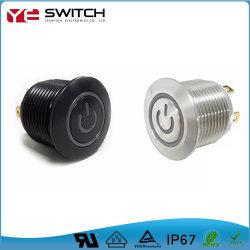 À prova de luz LED Elétrico momentâneo iluminado o interruptor de alimentação liga-desliga o Metal Micro Interruptor de Botão de toque