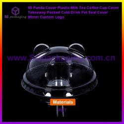 95 Panda 커버 플라스틱 우유 차 커피 컵 덮개 테이크어웨이 Packed Cold Drink PET Seal Cover 90mm Custom 로고