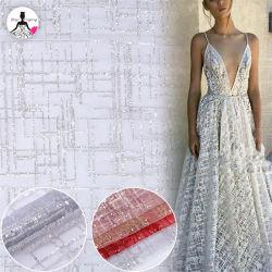 Merletto bianco del tessuto di tessile del merletto della sfilata di moda del Sequin della striscia di Tulle del ricamo di Yan Zi per il vestito da partito