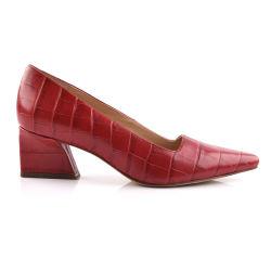 Темно - красного цвета из натуральной кожи Fashion Croco женщин удобные указал Toe громоздкие вертикально обувь