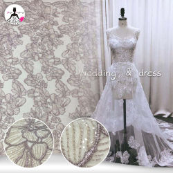 Nouvelle arrivée Dark-Pink paillettes Tulle broderie dentelle pour robes de mariée