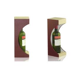 Cuero PU Pantalla decorativa titular de la botella de vino de embalaje Caja (6015)