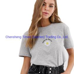 As mulheres engraçado de manga curta de impressão de tela personalizada de algodão T-shirt Cinza claro