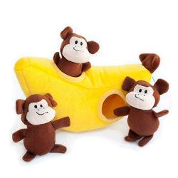 2021 Hot Sale Plush Monkey Sound Toy Chew Squeak Banana Huis Set pluche Pet Toys Cat