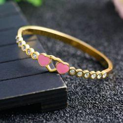 卸売、ピンクのハート形のマルチダイヤモンドのブレスレットの処理に代わるステンレス鋼の宝石類の工場