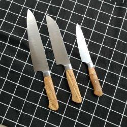 3pcs Küchenmesser Set Chef 8 Zoll deutscher Edelstahl Messer voll Klinge mit Olivenholz Griff für Küche