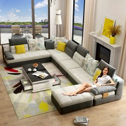 بينيّة أثاث لازم [مودن] وقت فراغ [أو] شكل 7 [ستر] قطاعيّة ركن بناء أريكة يثبت لأنّ يعيش غرزة