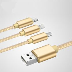 Hight Qualität 3 in 1 USB-Kabel-Nylonumsponnenem, alle in einem aufladennetzkabel, multi Funktion bewegliches USB-Kabel