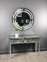 Verre chaud moderne de luxe à vendre Hôtel Home Chambre à coucher Meubles ensembles mis en miroir avec miroir de la vanité de la console La Table de salle de séjour
