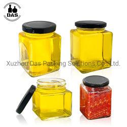 50 ml 80 ml 100 ml 200 ml 280 ml 500 ml 730 ml cibo quadrato Contenitore per la conservazione vasetti di vetro al miele con coperchi in metallo