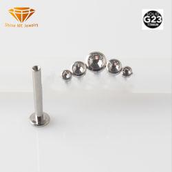 Hochwertiges Piercing Titanweiß des Form-Schmucksache-Wekzeugspritzen-Stift-G23 entsteint  Labret Stifte für Lippe Tpn019W