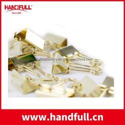 Diferentes tamaños de impresión personalizada clip de metal Binder Cuaderno de alambre de resorte de metal oro Binder Clips Clip