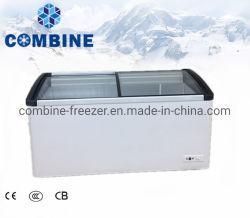Bonne qualité de porte en verre incurvé 460L affichage de la crème glacée congélateur coffre