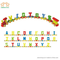 문 및 가정 Decroation에 아이의 이름에 사용되는 단단한 나무로 만드는 나무로 되는 장난감 색깔 트레인 알파벳 & 편지