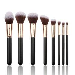 8PCS Professional Makeup Brush تجميليّة جمال أدوات أطقم مع اصطناعيّة فرشاة تصفيف الشعر ومقبض أسود اللون من الخشب