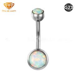 Corpo d'argento dei monili di alta qualità che perfora le curve Piercing dell'ombelico dell'ente di titanio solido G23 con la pietra opalina Tp1991