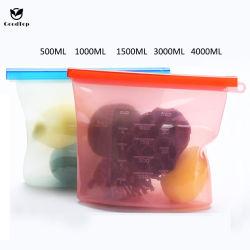 [هوتسل] [فوود غرد] قابل للاستعمال تكرارا سليكوون طعام تخزين حقيبة [فرش-كيبينغ] سحاب حقيبة لأنّ مطبخ