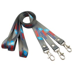 China Factory Custom Polyester Materiel Heat Transfer Printing Lanyard Wholesale Company ID Card Sublimation Fashion Neck Nylon Ribbon Front-Werbegeschenk