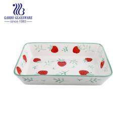 """Retângulo de 12"""" de porcelana pintada à mão louça de cozinha cozinha Bandeja para assar (TC23021292UM-TH1)"""
