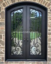 Двери из кованого железа и стали начального уровня безопасности передних дверей дизайн