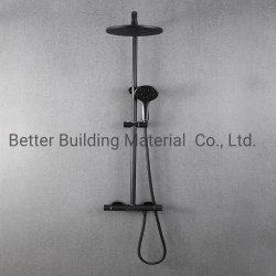 Schwarzes thermostatisches Dusche-Mischer-an der Wand befestigtes Regen-Dusche-Badezimmer-gesundheitliches Ware-Dusche-Set