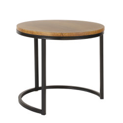 Runder Kaffeetisch-starker Metallrahmen-Bein-Sofa-Tisch-Eisen-Seiten-Tisch-moderner hölzerner Metallentwurfs-einfacher Kaffeetisch