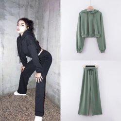 Женского спорта и отдыха колпачковая повседневный Long-Sleeved пуловер с поясом спортивные брюки костюм