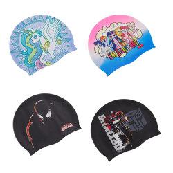 고품질 맞춤형 화려한 여름 스포츠 다이빙 내구성 강한 탄력성 친환경 100% 실리콘 패브릭 수영 캡으로 긴 머리 수영에 귀 보호 성인 어린이를 위한 모자