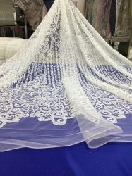 Blanc mariage nuptiale Tissu Tulle dentelle Guipure broderie