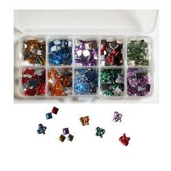 Scrapbooking Embellishment assortito multicolore scatola di pietra da rinoceronte (OB17)