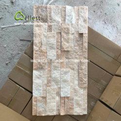 3D-покрытие уложено Quartzite розового цвета камня шпона для монтажа на стену оформление